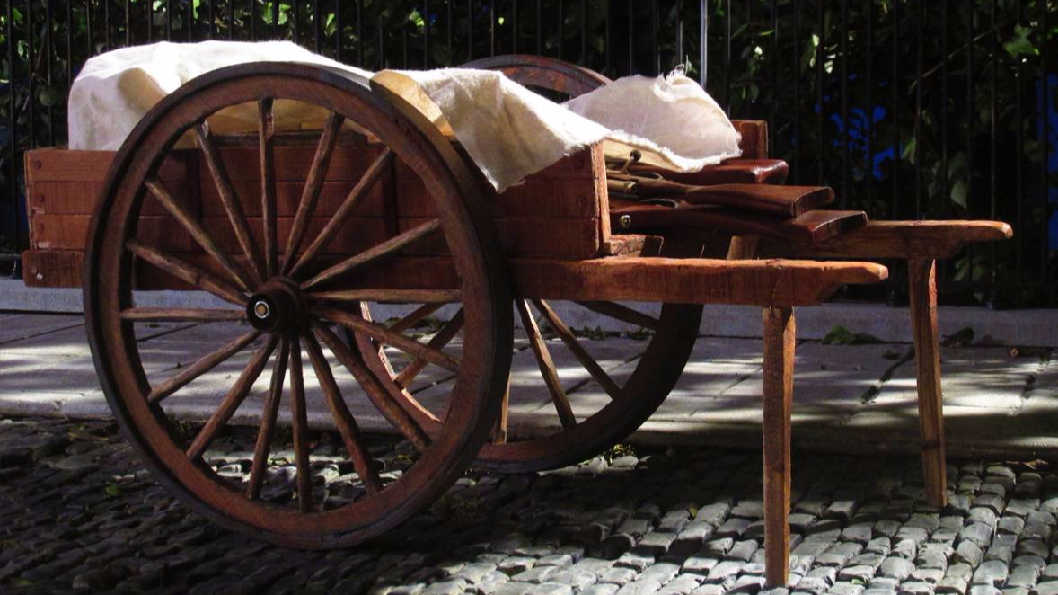 scale model of wooden cart