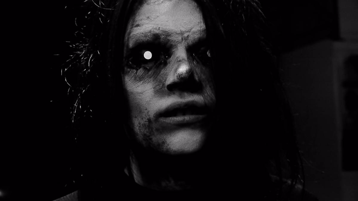 creepy prosthetic sfx make up glowing eyes black and white